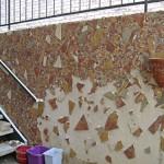 dan mueller art mosaic landscape wall austin-in progress