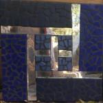 Self - mirror w/blue tile - 12 x 12 - $45